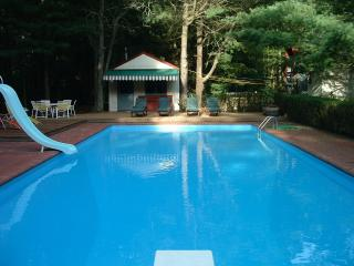 EXTRA LONG POOL WITH DIVING BOARD AND WATER SLIDE, CHILD SAFE FENCING