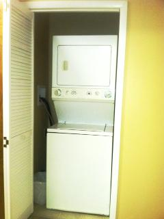 Free washer and dryer, you bring the laundry supplies