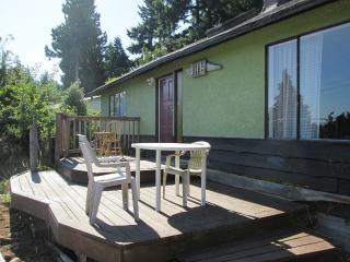Main house, sun deck, wood burning stove, Sooke
