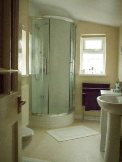 The dual aspect shower room is airy, the shower is easy to use with good water pressure
