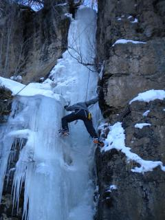 Climbing frozen waterfalls on Wolf Creek Pass