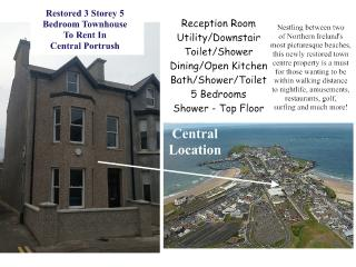 5 Bedroom Townhouse in Central Portrush  - 10 single beds or 5 super in 5 rooms