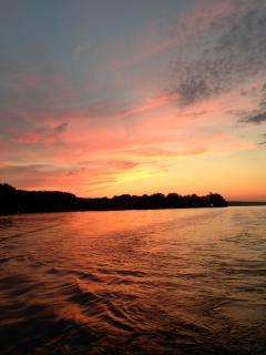 Sunset from boat on Cayuga lake