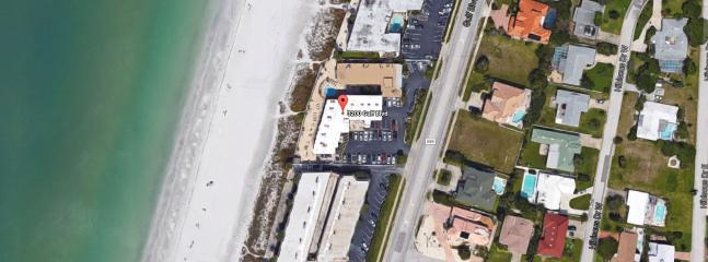 Aerial view of Belleair Beach Club directly on the sugar white sand of the Gulf