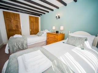 The twin bedroom. Beds are fitted with mattress toppers and 100% cotton sheets for your comfort
