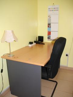 large desk in office