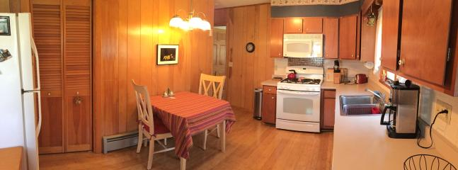 Fully equiped kitchen, gas stove, toaster, coffee pot, microwave, pots, dishes, utensils and more.