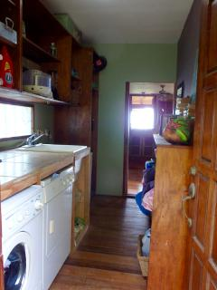 Laundry room:  washer, small appliances, beach towels, games, toys, books!