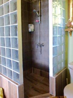 Full size shower, if you leave the door open you can see the ocean!  It's a treat and very private!