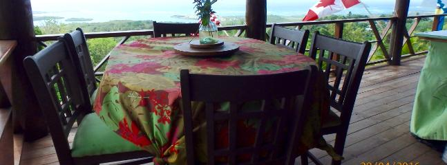 Dining area with spectacular view of the Atlantic Ocean.  Our guests are in awe!  Fabulous breeze!
