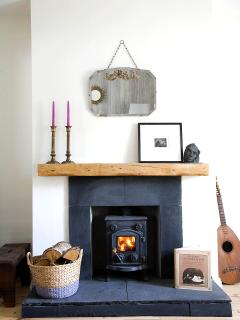 Light the wood burning stove and relax