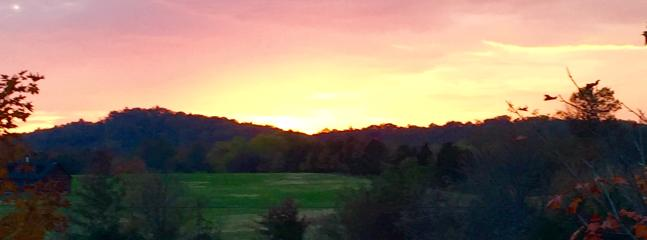 At the end of a beautiful day take in the gorgeous sunset view overlooking Big  Roundtop.