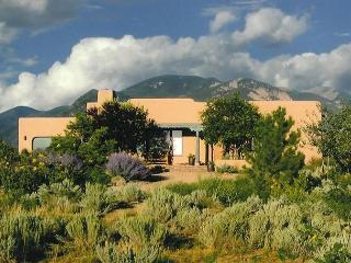 Sweeping panoramic mountain views, expansive adobe privacy wall system