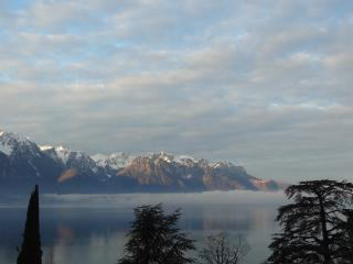 View from apartment across Lake Geneva toward Evian in France. The light changes continuously.