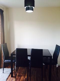 Dinning table for four people, additional chair can provide on request.