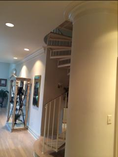 spiral stairs in rear of home