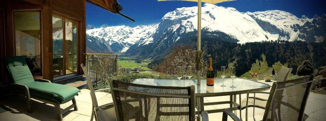 Apartment A  Very Spacious Terrace with gorgeous Views across Engelberg to 'Mount Titlis' (3200m)
