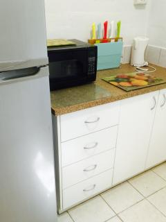 The Kitchen has a large fridge, cooker, microwave and well equipped for your self catering needs.