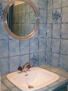 Coin douche comprenant un lavabo,un miroir et une cabine de douche