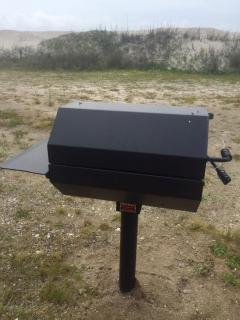 Charcoal grill in common area