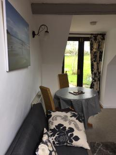 Dining area onto patio doors