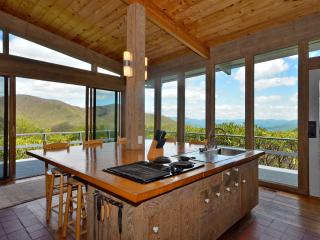 Rustic kitchen with views.  Doors mostly left open.