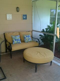 Seating area in covered Lanai.
