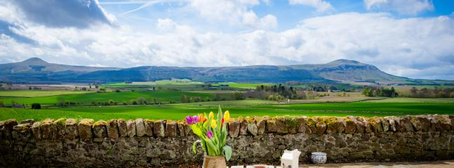 The cottage terrace, with uninterrupted views of the stunning Lomond hills and Fife countryside.