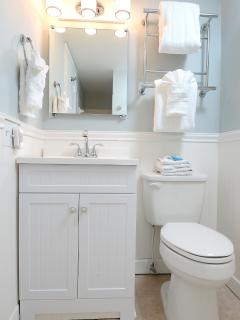 Hall bathroom with new vanity, Delta faucet.