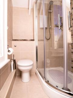 The bathroom with a fabulous high powered electric walk in shower, no baths at Sea Holly!