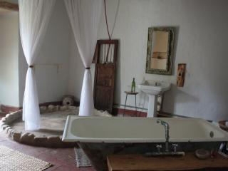 Main room's bathroom, with shower and bath