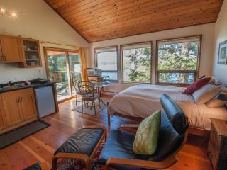 Bright Open Studio with well stocked kitchenette, sliding door to ocean view deck and BBQ