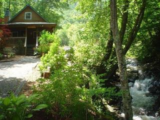 Large Cabin On Babbling Creek with Hot Tub, WiFi & Air Hockey! Near Boone, Todd
