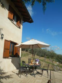 Private terrace with views across the vineyards to Historic Lanciano.