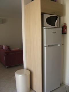 The large fridge freezer and microwave in the kitchen