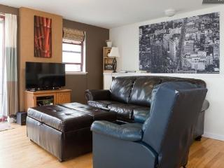 Large living room, sofa is a pull out bed (full/queen) and ottoman is also a pull out bed (single)