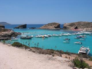 The Blue Lagoon on the islet of Comino - accessible by passenger ferry from Gozo