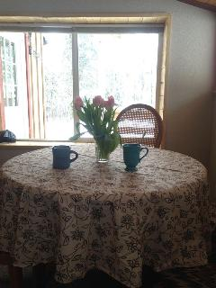 Dining room is a great spot for morning coffee
