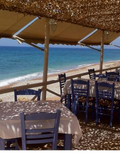 Beach front dining at Akrogiali Taverna, Kalo Nero, great authentic Greek food!