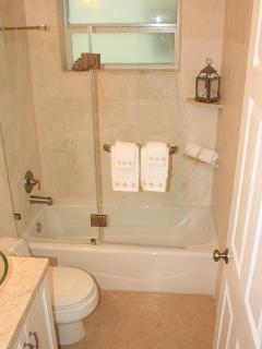 Guest bathroom-rain shower head, bathtub and natural stone throughout