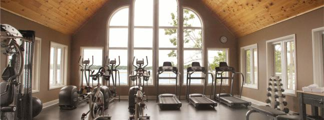 Fitness room overlooking the lake.
