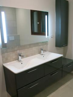 Double sink in re-decorated bathroom