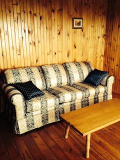 Queen sofa bed in downstairs den.