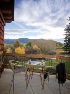 Deck off of master suite looking at the Bridger Mountains