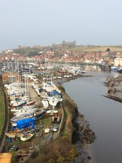 View down the river to Marina, Harbour and Abbey.