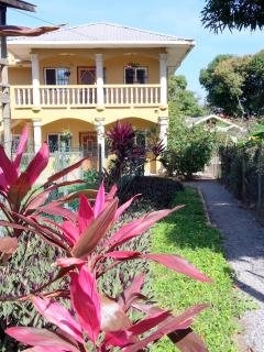 Walk up private lane, set back from paved road. 1 min walk to beach, restaurants & dive shops.