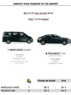 Driver from / to the airport  PEUGEOT Orly 40 - CDG 60 €  MERCEDES VIANO Orly 60 €- CDG 80 €
