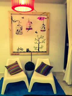 Beautifully decorated relaxing corner. Relax & unwind or simply take selfies with beautiful backdrop