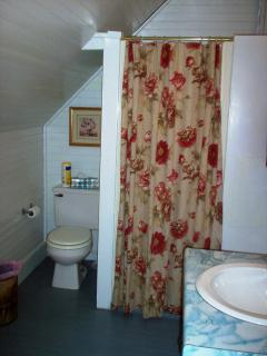 Bathroom with shower. Towels provided as well as shampoo, conditioner, body wash, and hair dryer.