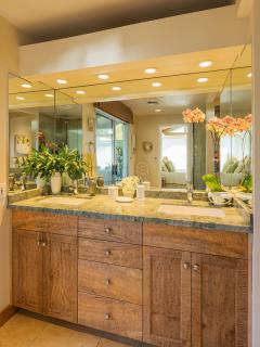 Master Bath Handmade Mango Wood cabinets. Dual Kohler sinks & Grohe fixtures.